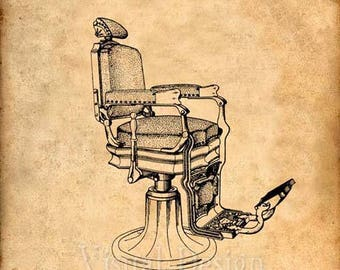Barber's Koken Chair Patent Print - Patent Art Print - Patent Poster - Barber Art - Barbershop - Barber Gift - Barber Print - Koken Chair
