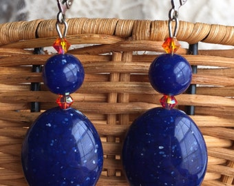 Lulu Final Fantasy X Simple Blue Embers Leverback Earrings Cosplay FFX FF10 Final Fantasy 10
