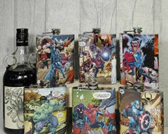 Superhero Comic Hip Flask Custom