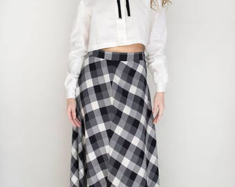 Womens Vintage Gingham Plaid Buffalo Checkered Tattersall Warm Woven Long Maxi Skirt - Small
