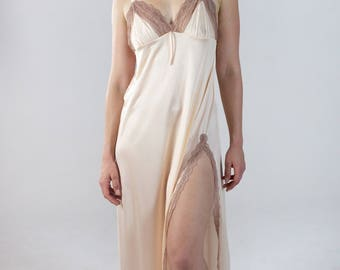 Vintage Lace Trim Nightgown Slip Lounge Dress Sexy Silky Lingerie with Cropped Sleeveless Peignoir Jacket Light Pink Dusty Rose Matching Set