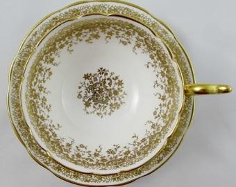 Coalport Tea Cup and Saucer with Gold Filigree, English Bone China
