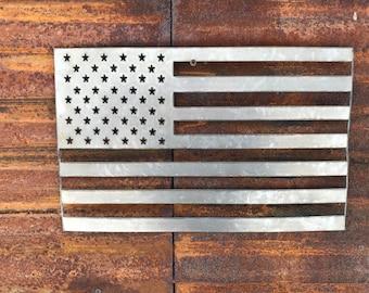Rustic Metal American Flag, Rustic Flag Sign, Rustic Decor, Farmhouse decor, Fixer Upper style, Porch Flag, Home Wall decor, Metal Flag