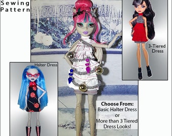 "BURST into TIERS Halter Dress Doll Clothes Sewing Pattern for 9.5"" - 11"" Fashion Dolls like Monster High - Instant PDF Download"