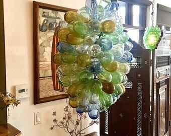 colorful light fixture of handblown glass
