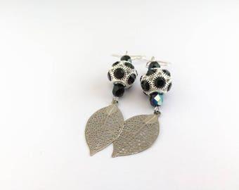 Black Silver earrings with leaves ref 481