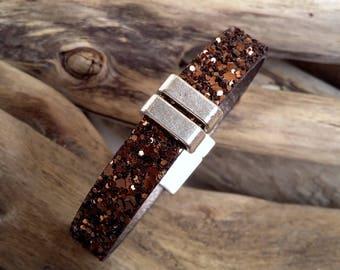 Bracelet brown leather spangled glitter Boho jewelry By Dodie