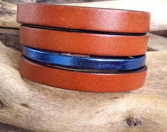 Bracelet leather cuff , Serenade, brown and blue, Boho jewelry By Dodie