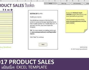 Product Sales Tracker - 2017 | Business Sales Report | Excel Category & Product Sales Template | Instant Digital Download