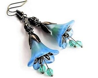 Flower Earrings Bohemian Jewelry Long Earrings Floral Jewelry Blue Earrings Statement Jewelry Gypsy Earrings Blue Jewelry Victorian Earrings