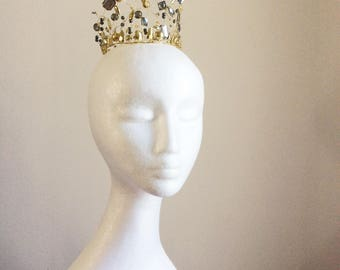 Gold crown or coronet, great as a fairytale wedding headpiece or medieval queen diadem headdress, period costume hair accessories