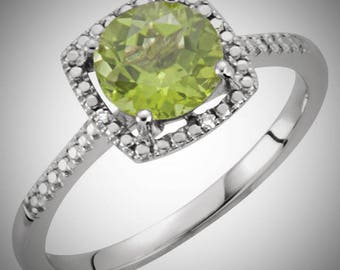 925 Sterling Silver Peridot & Halo Diamond Engagement August Birthstone Ring, Custom Sizes Available