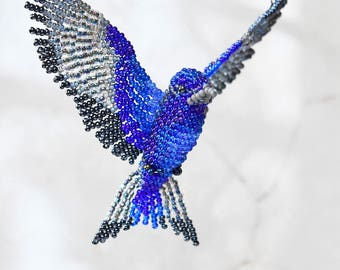 Purple Martin Ornament, Beaded Bird Suncatcher, Swallow Bird Necklace, Window Decor, Bird Room Decor, Beaded Bird Figurine, Bird Lover Gift