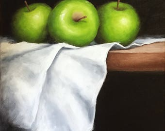 Three Apples on cloth, original oil painting still life by Jane Palmer canvas wall art