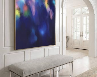 "VERY Large Abstract Painting, Blue, Purple, Colorful, Abstract Wall Art, Original Painting by Corinne Melanie ""SEMINYAK"""