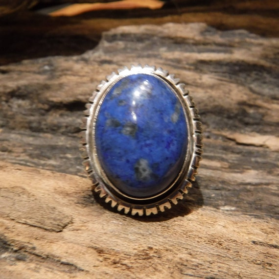 Large Vintage Mens Ring Sterling Native American Signed Ring Blue Lapis Ring Heavy 10.5 Grams Size 8.75 Sterling Silver Mens Vintage Rings