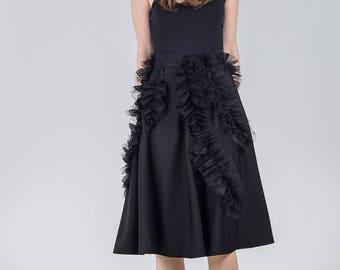 Black elegant skirt / Knee length high waist skirt / Special occasion woman's skirt / Frill detail handmade black skirt / Fasada 1795