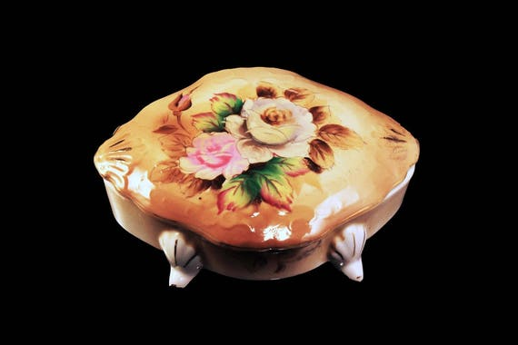 Lipper and Mann Creations, Footed Trinket Box, Vanity Box, Brown Floral, Ring Box, Hand Painted, Gold Trim