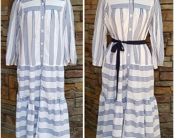 Soft blue and white striped gown/dress - extra large