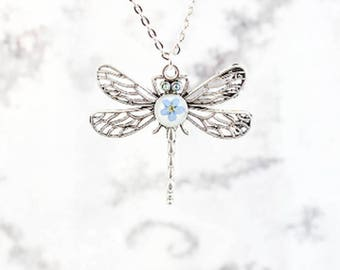 dragonfly necklace insect jewelry charm pendant necklace pastel blue necklace insect wings pressed flower necklace quirky jewelry gift РЮ111