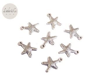 10 charms 16x12mm holiday silver sea star / sea-27