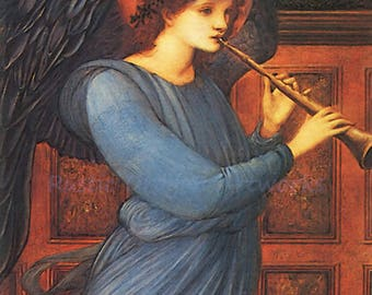 "Edward Burne Jones ""Angel Playing a Flute"" 1881  Reproduction Print Angel Christianity Heaven"
