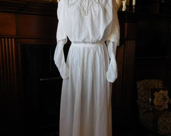 Antique Edwardian white cotton lawn summer tea gown dress lace insertions size small