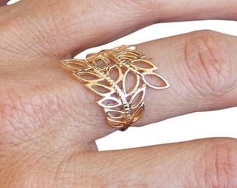 Gold Ring, Leaf Ring, Laural ring, Band Ring, Gold Plated Ring