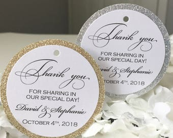 Set of 25 Wedding Thank You Tags -  Black Thank You Tag - Gold Glitter Tag - Silver Glitter Tag - Personalized Thank You Tag - Shimmer Tag