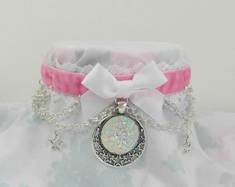 Limited Made To Order Cute Magical Girl Pink Velvet Druzy Kawaii Pastel Stars Lace Ribbon Choker