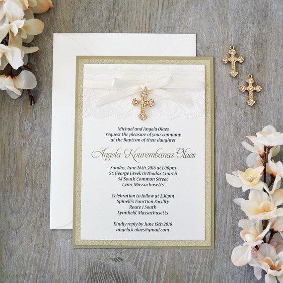 ANGELA - Lace Baptism Invitation - Ivory Lace with Gold Rhinestone Cross - Gold Glitter and Lace Christening Invitation