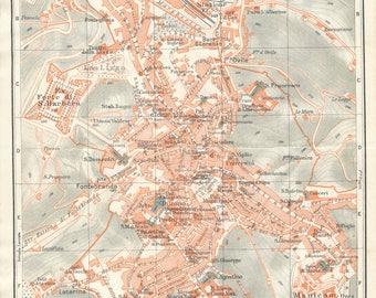 1927 Siena Tuscany Italy Antique Map