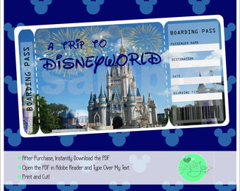 Printable Ticket to Disneyworld Boarding Pass, Customizable Template, Digital File - You Fill and Print