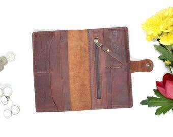 Leather Wallet Woman - Leather Purse - Handmade wallets for women - leather coin purse - BROWN KODIAK leather by Valentina.