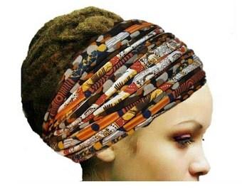 Boho Gypsy Head Scarf Head Wrap Autumn Orange Brown Blaze Yoga Turban Style Headband Tribal Extra WideHeadband Dreadlock Accessories Wrap