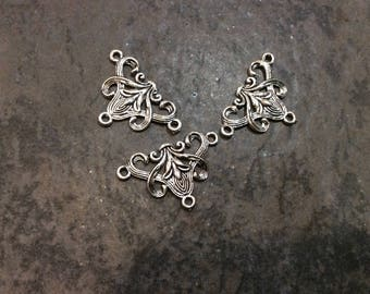 Silver Filigree Y necklace connector package of 3 necklace or bracelet connectors