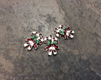 Enamel Candy Cane Charms Package of 3 Charms Christmas and Holiday Charms with silver finish