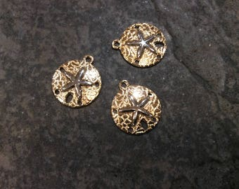 Sand Dollar charms in light gold finish with silver starfish accents Package of 3 charms Beach theme charms