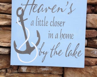 Nautical sign, hand painted, wood sign, beach house art, anchor sign, housewarming gift, lake house sign