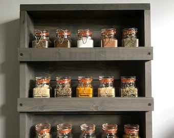 Spice Rack Rustic Kitchen, Spices, Wall spice rack, Kitchen organizer,Spice  rack