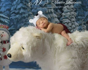 Polar Bear Hat | Baby Bear Hat | Toddler Polar Bear | White Bear Hat | Crochet Polar Bear Hat | Christmas Photo Prop | Stocking Stuffer