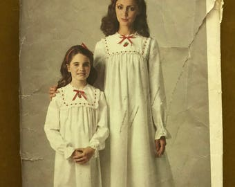 Butterick  4095 - Mother Daughter Victorian Style Nightgown Pattern - Size Misses Petite Small Medium Large Girls S M L