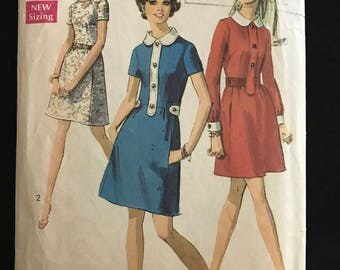Simplicity 8496 - 1960s Above Knee Length Dress with Peter Pan Collar, Button Placket and Back Belt Options - Size 16 Bust 38