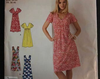 Simplicity 2889 - Easy to Sew Raised Waist Dress with Sleeveless or Short Flutter Sleeves and Knee Length Skirt - Size 8 10 12 14 16 18