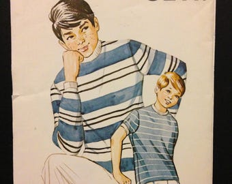 Kwik Sew 308 1960s or 70s Boys Casual Knit Shirt with Ribbed Collar and Cuffs - Size 8 10 12 14