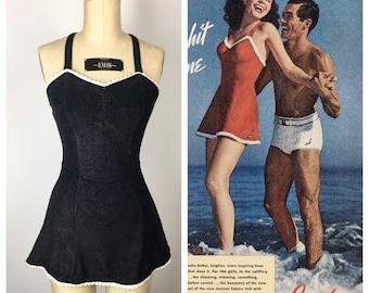 Vintage 1940s Swimsuit / 40s Black Knit Skirted Jantzen Bathing Suit / Small