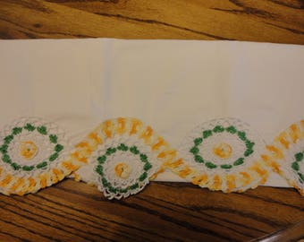 Vintage pillow case with hand crochet edging