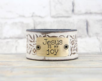 Cuff of the Month - Jesus is my Joy - Everyday Bracelet - Inspirational Gift - White Bracelet - Neutral Jewelry - Leather Cuff Bracelet