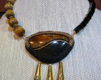 "Simbircite chocker necklace ""Day and Night"", bead and gem embroidery necklace, semi precious stone, asymmetrical choker"