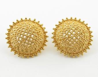 Vintage 22k Yellow Gold Indian Earrings - Fancy Handmade Omega Back Earrings